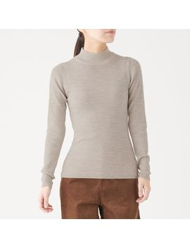 Non Itchy Rib Stitch High Neck Sweater by Muji