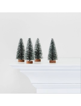 4pc Green Flocked Bottle Brush Trees Decorative Figurines   Wondershop™ by Shop This Collection