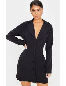 Black Pinched Waist Blazer Dress by Prettylittlething