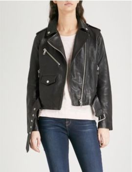 Agnes Belted Leather Biker Jacket by Whistles