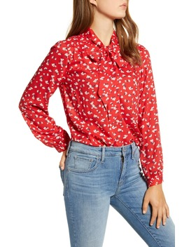 Ava Floral Tie Neck Blouse by Lucky Brand