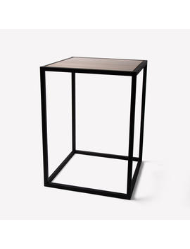 Black Steel & Wood Square Side Table by Yamazaki Home