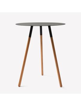 Black Steel & Wood Circular Side Table by Yamazaki Home