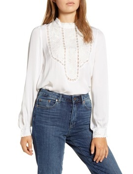 Florence Embroidered Yoke Blouse by Lucky Brand