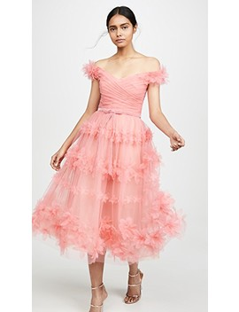 Off Shoulder Tea Length Gown by Marchesa Notte