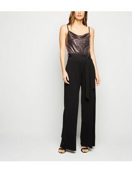 Black Sequin 2 In 1 Wide Leg Jumpsuit by New Look