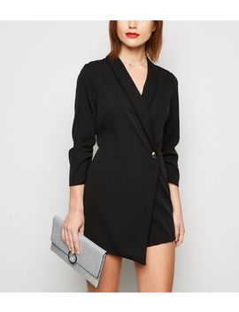 Black Ruched Sleeve Wrap Tuxedo Playsuit by New Look