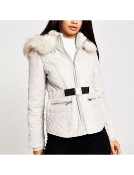 Beige Faux Leather Fitted Padded Jacket by River Island