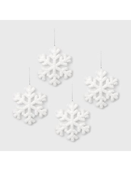 4ct Fluffy Snowflake Christmas Ornament Set White   Wondershop™ by Shop This Collection
