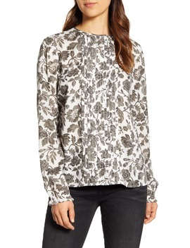 Lea Grey Floral Pintuck Blouse by Lucky Brand