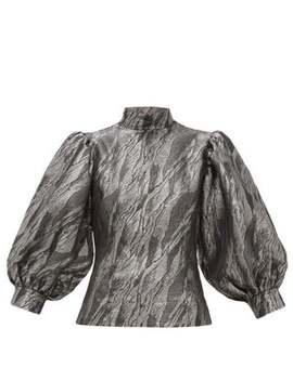Metallic Jacquard Puff Sleeve Top by Ganni