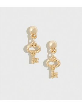 Gold Stud Key Earrings by New Look