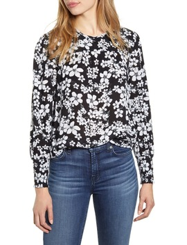 Smocked Cuff Floral Top by Lucky Brand