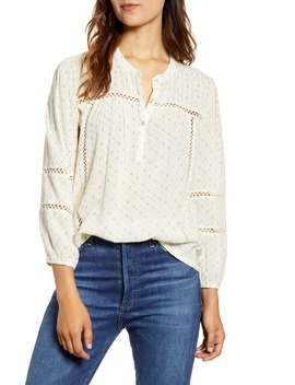 Dot Lace Inset Cotton Blouse by Lucky Brand