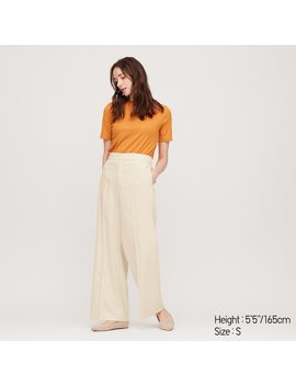 Women High Waisted Wide Leg Trousers by Uniqlo