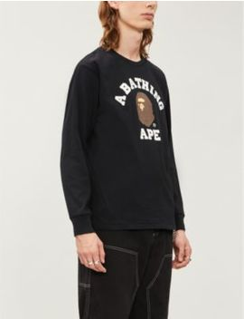 College Logo Print Cotton Jersey Top by A Bathing Ape