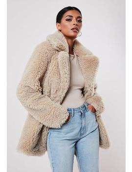 Tall Beige Faux Fur Short Collar Coat by Missguided