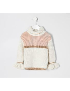 Beigefarbener Pullover Mit Colour Block Für Kleine Mädchen by River Island