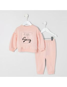 Mini Girls Pink 'sassy' Sweatshirt Outfit by River Island