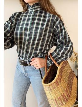 Vintage 90s Haute Boheme Tartan Checked Blouse Shirt Top by Etsy