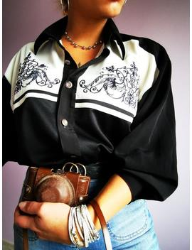 Vintage 90's Oversize Western Style Black Embroidery Shirt, Uk 10 14, One Plus Size, Vintage Women Clothing, 70's, 80's, 90's, Y2 K by Etsy