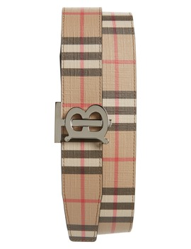Tb Monogram Vintage Check Reversible Belt by Burberry