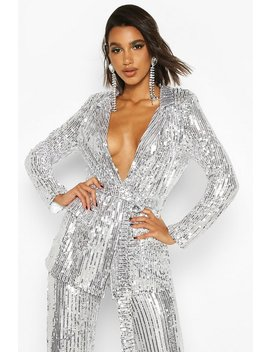 Sequin Tie Belt Blazer by Boohoo