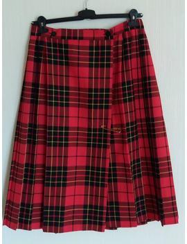 Vintage 90s Belted Red Skirt/Kilt Large Size by Etsy