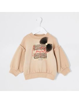 Mini Girls Beige Printed Bow Sweatshirt by River Island