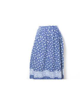 Vintage High Waist Midirock S Skirt 90s 80s Skirt Vintage Skirt Costume Oktoberfest Waist Mom Style Hipster Roses Flowers 100% Cotton Midi by Etsy