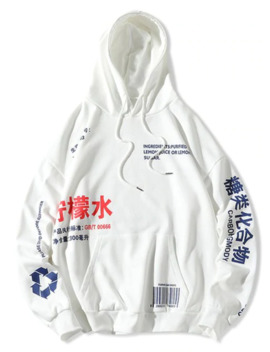 Chinese Lemonade Production Label Graphic Drop Shoulder Hoodie   White L by Zaful