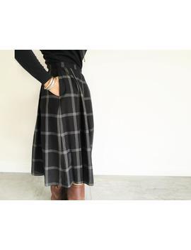 Uk8 Vintage Skirt, Checked Peasant Skirt, 90s Clothes, Work Skirt, Full Circle Black Skirt, Pretty Checked Skirt, Plaid Black Skirt, Skirts by Etsy