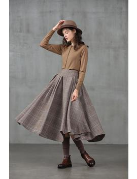 Pleated Check Wool Skirt, Midi Wool Skirt, Winter Skirt, Wool Winter Skirt, Vintage Skirt, Brown Skirt, Party Skirt   Linennaive by Etsy