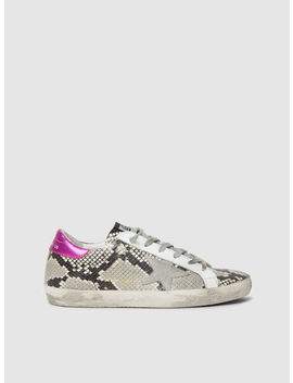 Superstar Snake Print Pink Tab Leather Sneakers by ‎Golden Goose Deluxe Brand‎