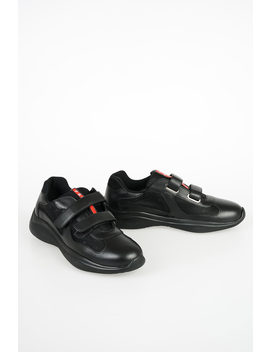 Fabric And Leather Sneakers by Prada