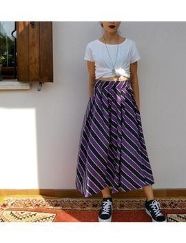 Vintage Full Skirt / Multicolor Stripes Skirt / Round 90s Skirt by Etsy