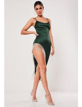 Green Satin Diamante Trim Asymmetric Hem Midi Dress by Missguided