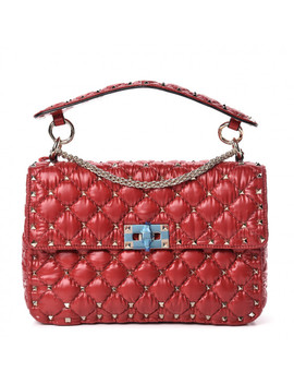 Valentino Nylon Moncler Quilted Medium Rockstud Spike Shoulder Bag Red by Valentino