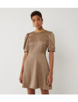 Satin Puff Sleeve Mini Dress by Warehouse