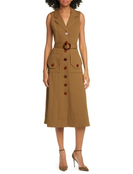Belted Button Up Silk Twill Midi Dress by Nicholas