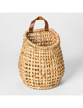 "10.2"" X 7"" Hanging Water Hyacinth Basket With Leather Handle Natural   Threshold™ by Shop Collections"