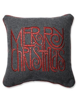 "Gray Throw Pillow Merry Christmas (11.5""X11.5"")   Pillow Perfect by Pillow Perfect"