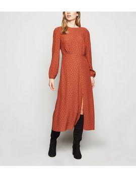 Rust Spot Long Sleeve Midi Dress by New Look