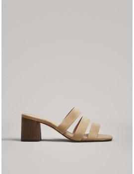 Sandaler Med HÆl Og Brede Remme by Massimo Dutti