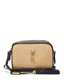 Lou Small Raffia And Leather Cross Body Bag by Saint Laurent