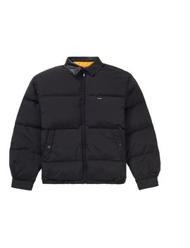 Supreme Leather Collar Puffy Jacket Black by Stock X