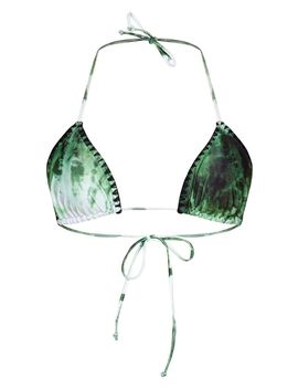 Green Tie Dye Blanket Stitch Triangle Bikini Top by Prettylittlething
