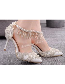 Handmade Crystal Wedding Shoes White Wedding Shoes Tassels Sandals Bridal Shoes For Bridal/Bridesmaid Bridal Shoes Diamond High Heeled Shoes by Etsy