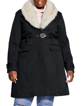 Belted Jacket With Faux Fur Collar by City Chic