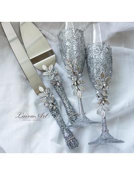 Silver Wedding Champagne Glasses Cake Server Set Wedding Flutes Cake Server Wedding Toasting Flutes Set Of 4 by Etsy